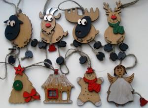 Новый год, Рождество, подарки, деревянные фигурки, подвески, набор